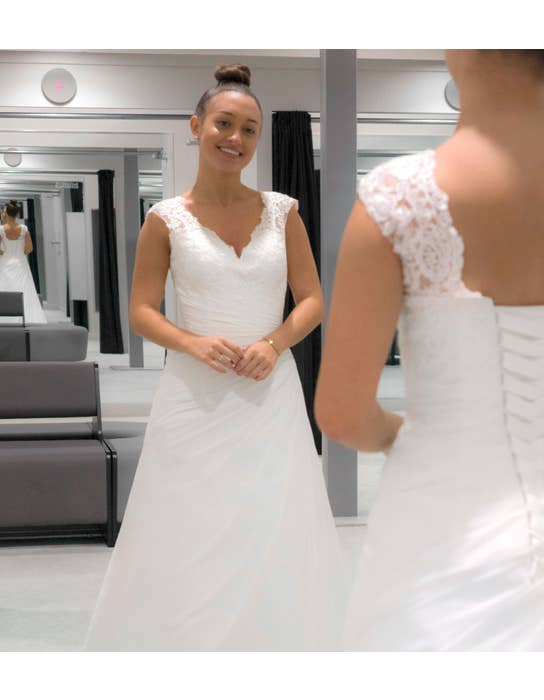 ADELA - a pleated chiffon lace up gown | WED2B