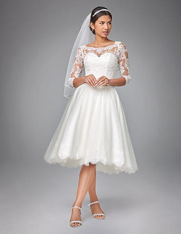Abilene short wedding dress front Anna Sorrano thumbnail