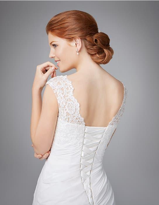 ADELA - een geplooide chiffon kanten jurk | WED2B