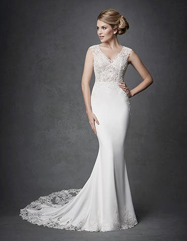 Archer sheath wedding dress front Signature th