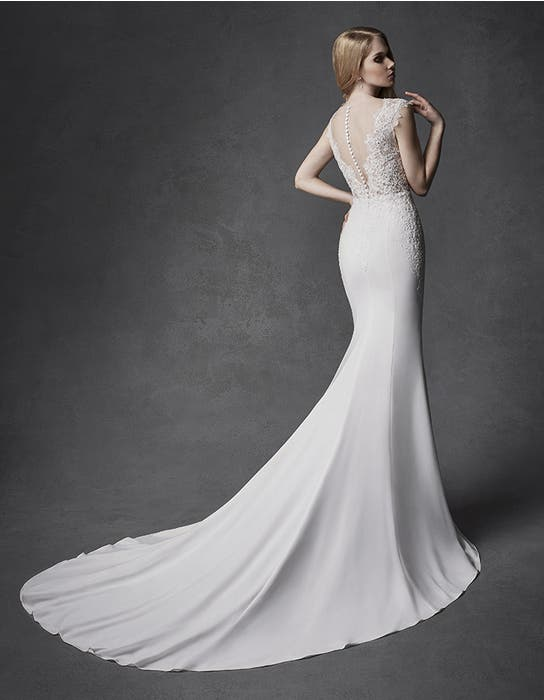 Atlas sheath wedding dress back Signature
