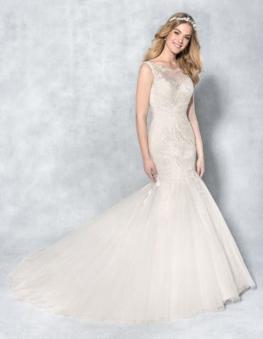 Bailey fishtail wedding dress front Viva Bride th