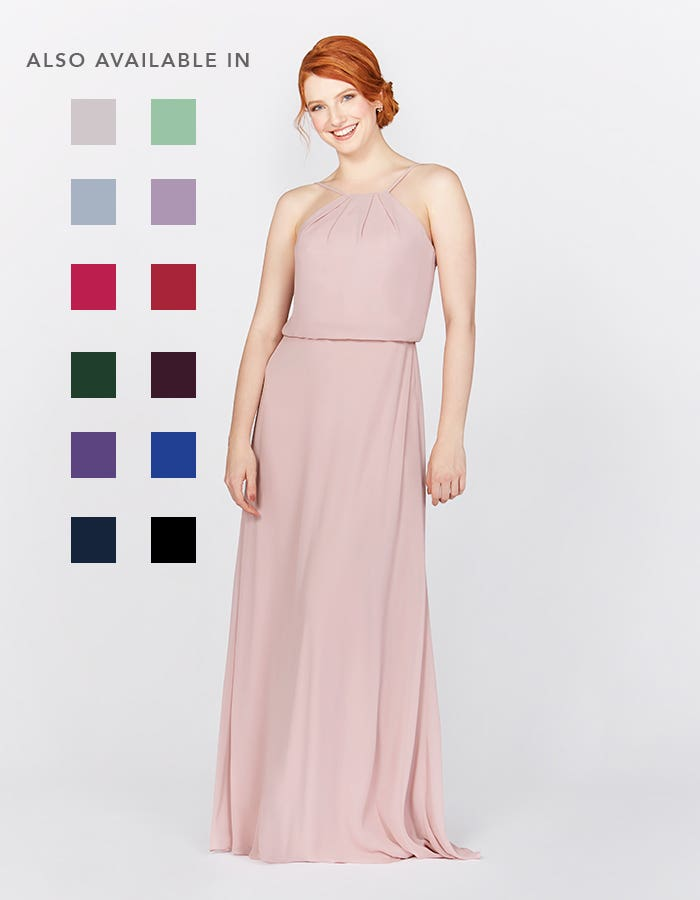 Bella blush pink bridesmaids dress front Infinite th