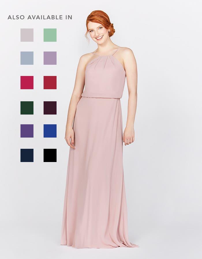 Bella blush pink bridesmaids dress front Infinite th