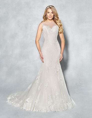 Bobbi fishtail wedding dress front Viva Bride th