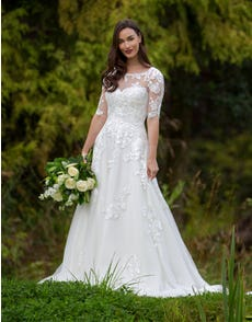 Breona - a floral lace A-line with sleeves