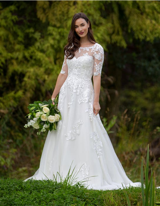 Breona - a floral lace A-line with sleeves | WED2B