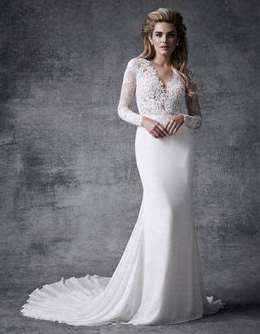 Bria sheath wedding dress front Signature th