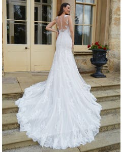 Brixton - a mermaid gown with statement back and train