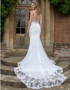 Brooklynn - a low back chantilly lace gown with statement train