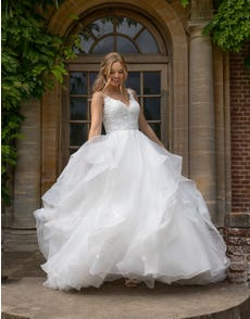 Brynn - an organza waterfall gown with lace bodice