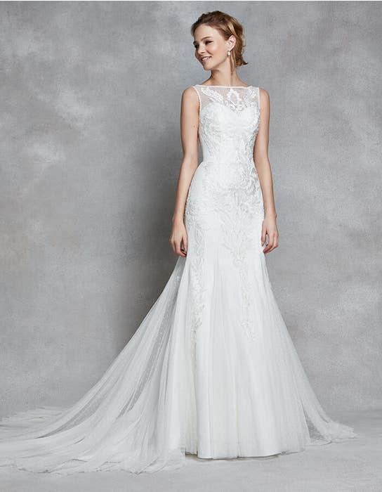 Dana fit _ flare wedding dress front Anna Sorrano
