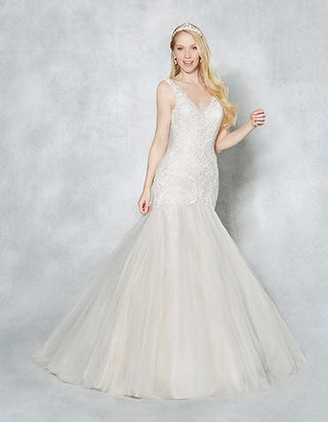 Daniella fishtail wedding dress front Viva Bride th