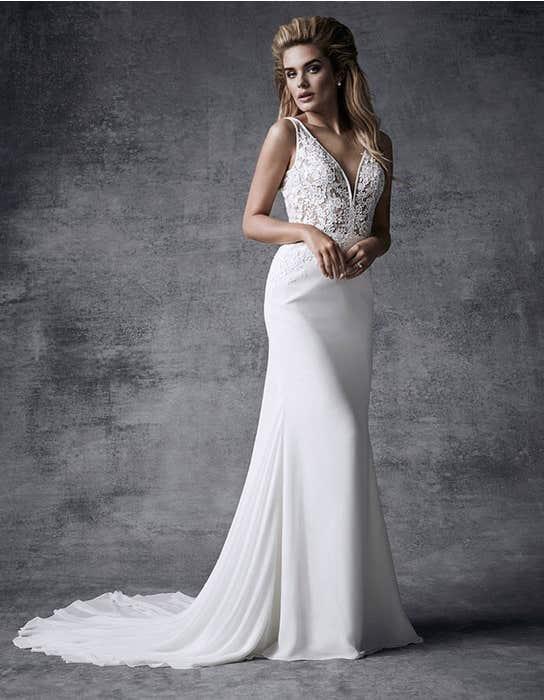 Demi sheath wedding dress front Signature