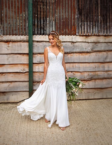 Dominique sheath wedding dress front Viva Bride th