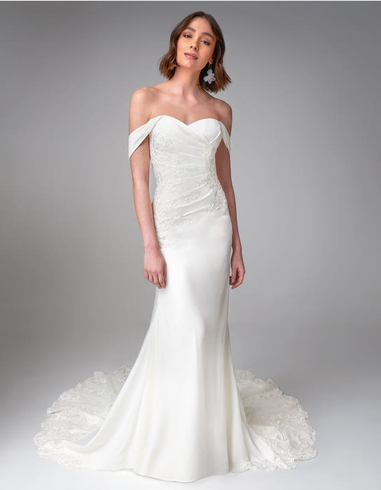 Drew sheath wedding dress front Anna Sorrano