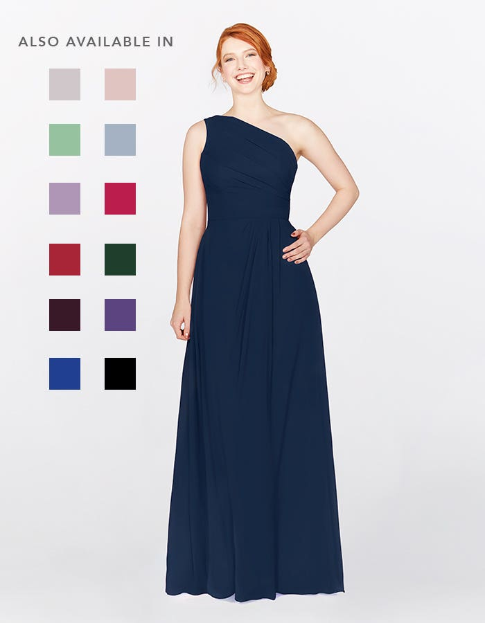 Eden dark navy bridesmaids dress front Infinite th