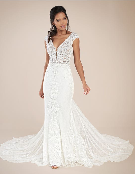 Eleni sheath wedding dress front Signature