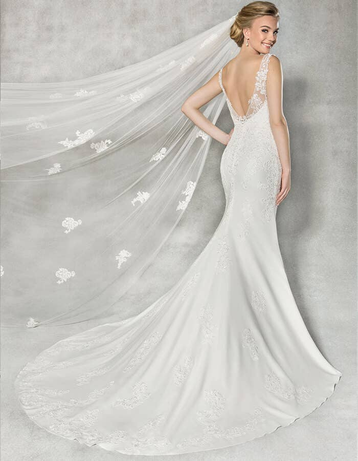 Elsbeth sheath wedding dress front Anna Sorrano