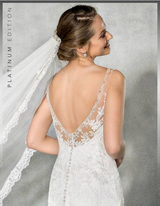 Evangeline fishtail wedding dress back crop Anna Sorrano