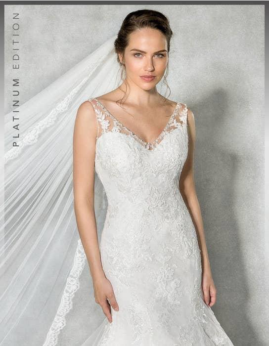 Evangeline fishtail wedding dress front crop Anna Sorrano