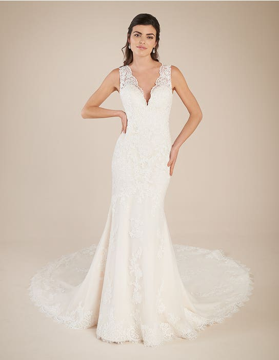 Ferris blush fishtail wedding dress front Viva Bride