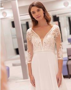 Henny - een dromerige chiffon jurk met mouwen