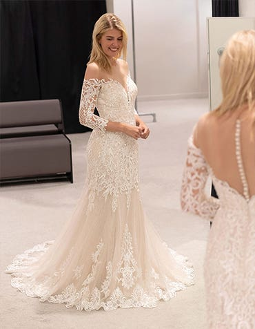 Jackson - an off-the-shoulder gown with sleeves