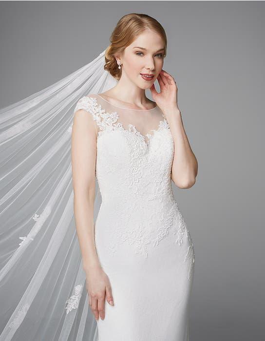 Heather sheath wedding dress crop front Anna Sorrano