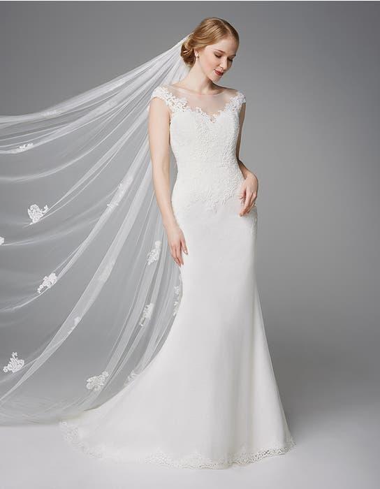 Heather sheath wedding dress front Anna Sorrano