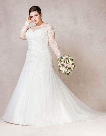 Isabelle fit and flare wedding dress front Bellami th