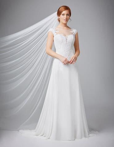 Joelle sheath wedding dress front Anna Sorrano th