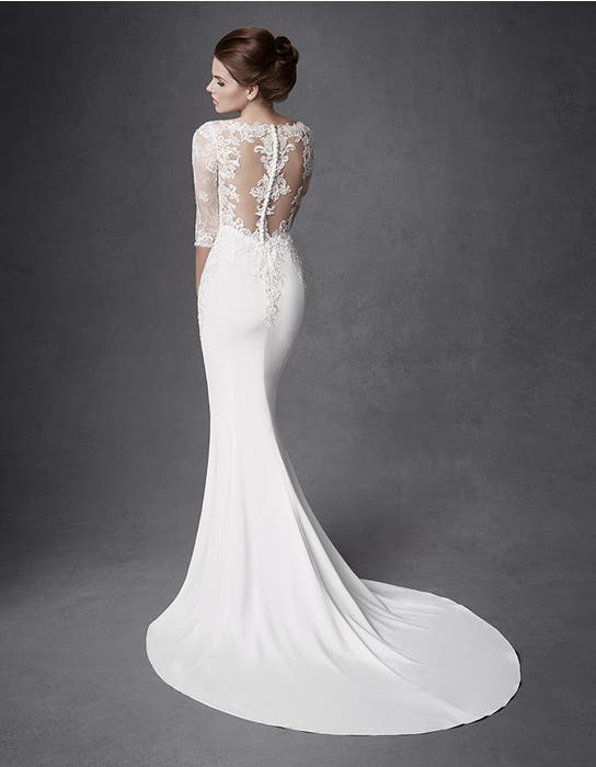 Jourdan sheath wedding dress back Signature