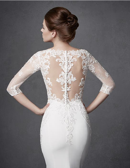 Jourdan sheath wedding dress crop back Signature