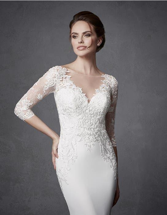 Jourdan sheath wedding dress crop front Signature