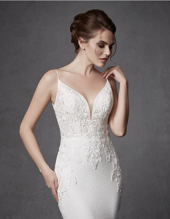 Keegan sheath wedding dress crop front Signature