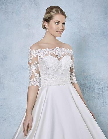 Kensington lace bridal jacket front Amixi th