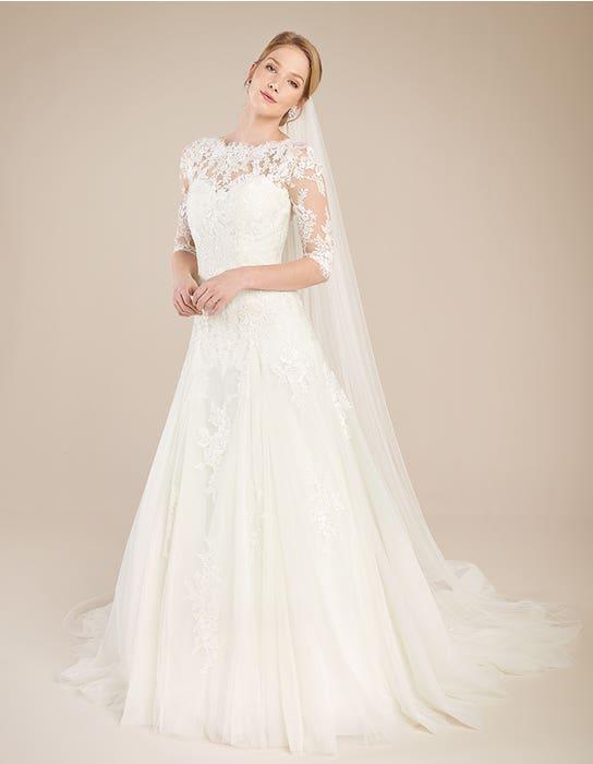 Laurenza fit _ flare wedding dress front Anna Sorrano