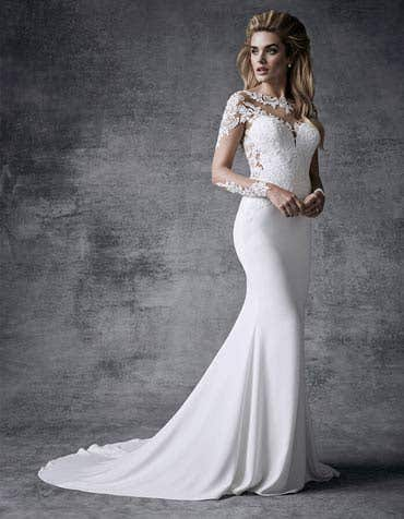 Lux sheath wedding dress front Signature th