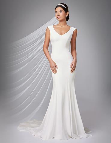 Magda sheath wedding dress front Anna Sorrano thumbnail