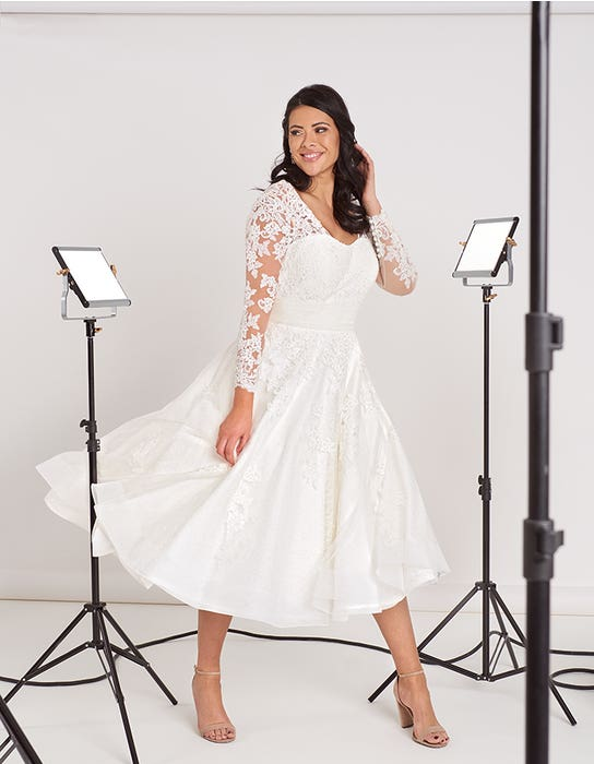 Maria - a vintage tea length dress with sleeves | WED2B