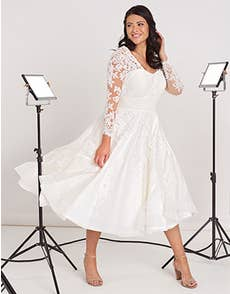Maria - a vintage tea length dress with sleeves
