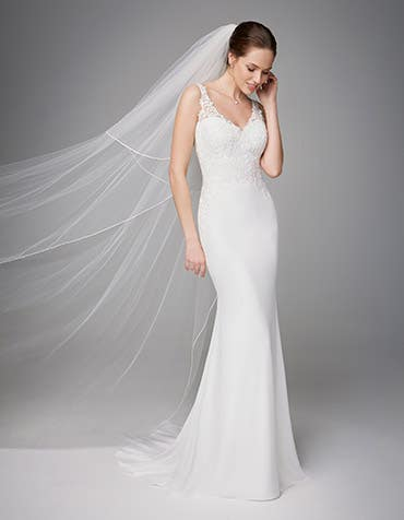 Marlene sheath wedding dress front Anna Sorrano th