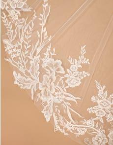 Monae - a single tier modern botanical lace veil