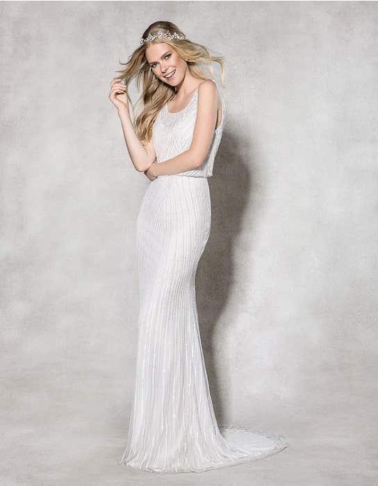 Myla sheath wedding dress front Heidi Hudson