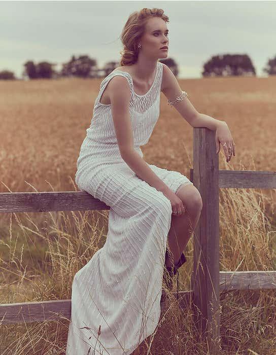Myla sheath wedding dress lavender Heidi Hudson