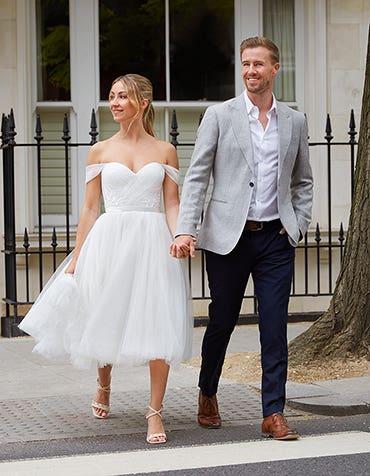 Niamh - a modern off-the-shoulder tea length dress