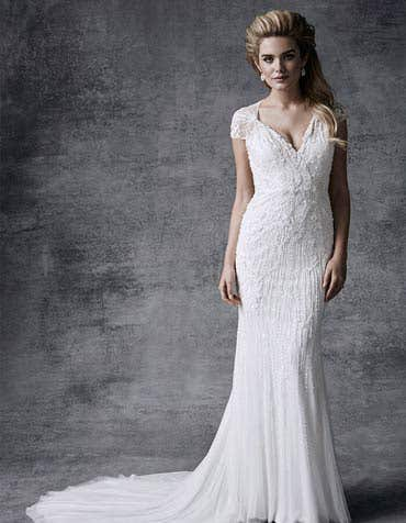 Ophelia sheath wedding dress front Signature th