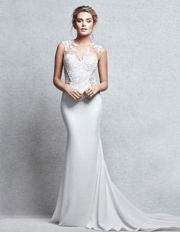 Peta sheath wedding dress front Signature th