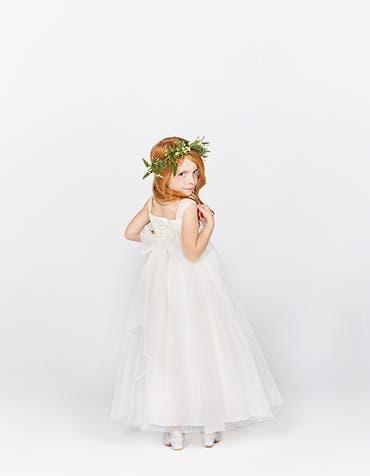 Poppy ivory flower girl dress back Infinite th
